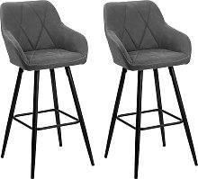 Set of 2 Fabric Bar Chairs Grey DARIEN