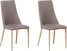Set of 2 Fabric Dining Chairs Taupe Beige CLAYTON