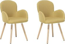 Set of 2 Fabric Dining Chairs Yellow BROOKVILLE