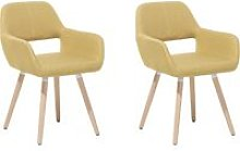 Set of 2 Fabric Dining Chairs Yellow CHICAGO