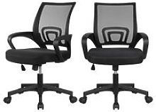 Set of 2 Fabric Mesh Chairs Desk Chair Office