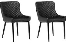 Set of 2 Faux Leather Dining Side Chair Diamond