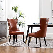 Set of 2 Faux Tan Leather Chesterfield Dining Chair