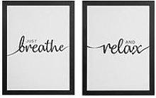 Set Of 2 Framed Wall Art - Breathe / Relax