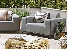 Set of 2 Garden Armchairs Grey Fabric Upholstery