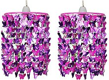 Set of 2 Girls Kids Pink & Purple Butterflies