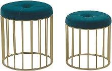 Set of 2 Glam Pouffes Velvet Upholstery Iron Base