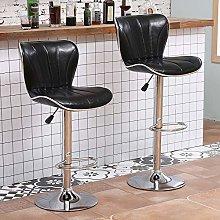 Set of 2 Glossy Black Bar Stools for Kitchens, PU