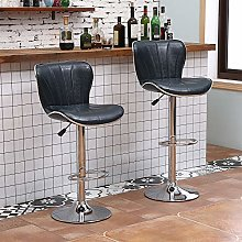 Set of 2 Glossy Blue Bar Stools for Kitchens, PU