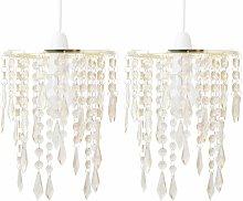 Set of 2 Gold & Amber Jewels Light Shades