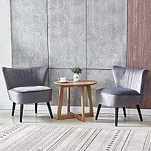 Set of 2 Grey Fabric Occasional Wingback Sofa