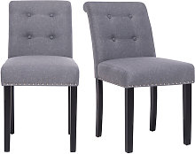 Set of 2 Grey Linen Buttoned Dining Chairs