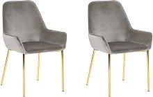 Set of 2 Grey Velvet Dining Chairs Retro Glam Gold