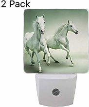 Set of 2 Horse Night Light, Plug-in Sensor Light