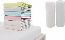 Set of 2 Jersey Cotton Fitted Sheets 70x140cm, for