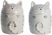 Set of 2 Kitchen Storage Jars Containers Ceramic