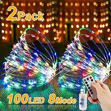 Set of 2 LED String Lights 10m 100 LED USB with