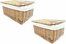 SET OF 2 Lidded Wicker Storage Basket With Lining