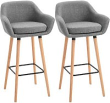 Set Of 2 Linen Bar Chairs Tub Style w/ Wooden Legs