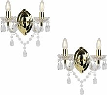 Set of 2 - Marie Therese 2 Lights Clear & Gold
