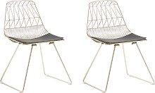 Set of 2 Metal Accent Chairs Gold HARLAN