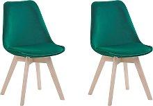 Set of 2 Modern Dining Chairs Velvet Upholstery