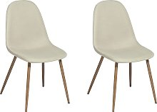 Set of 2 Modern Fabric Dining Chairs Light Beige