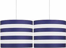 Set of 2 Navy Stripes 25cm Light Shades