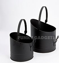 Set Of 2 Nested Coal Hods Scuttle Fireplace