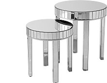 Set of 2 Nesting Side Tables Mirrored End Table