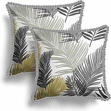 Set of 2 Ochre Palm Leaf Pom Pom Cushion Covers,