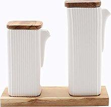 Set of 2 Oil/Vinegar Bottles Ceramic Matte