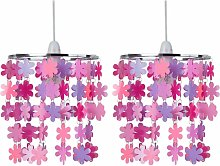 Set of 2 Pink and Purple Flower Windchime Light