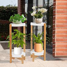 Set of 2 Plant Stand Flower Pot Holder Plastic -