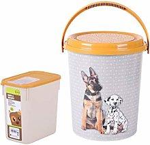 Set Of 2 Plastic Animal Dog Kitten Dry Food