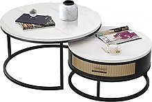 Set of 2 round coffee table with drawers,2 side