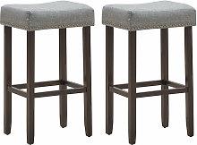 Set of 2 Saddle Bar Stools Upholstered Counter