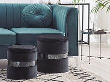 Set of 2 Storage Pouffes Black Polyester Velvet
