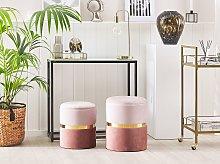 Set of 2 Storage Pouffes Light and Dark Pink
