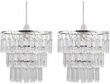 Set of 2 Three Tier Acrylic Crystal Light Shades