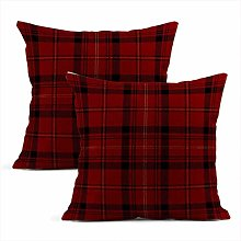 Set of 2 Throw Cushion Covers Decorative Checkered