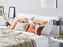 Set of 2 Throw Cushions Multicolour Face Motif 45
