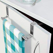 Set of 2 Towel Racks on Door, Stainless Steel Bar