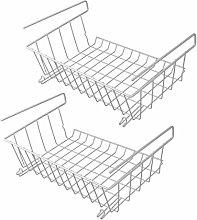 Set of 2 Under Shelf Storage Baskets | Metal Wire