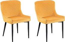 Set of 2 Velvet Dining Chairs Yellow SOLANO