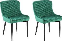 Set of 2 Velvet Dining Side Chairs Diamond