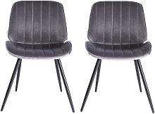 Set of 2 Velvet Leisure Dining Chair, Dark Grey