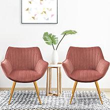 Set of 2 Velvet Leisure Dining Chair, Wine red