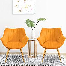 Set of 2 Velvet Leisure Dining Chair, Yellow