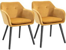 Set Of 2 Velvet Look Dining Chairs Retro Seating